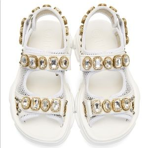 GUCCI Embellished leather and mesh sandals
